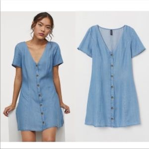 Blue denim button down dress